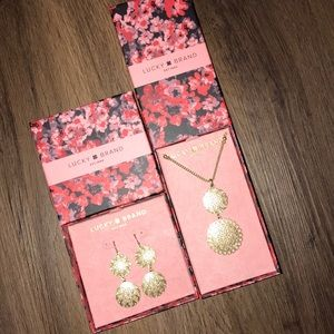 New in Box Lucky Brand Earrings & Necklace Set